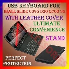"ACM-USB KEYBOARD for IBALL SLIDE 6095 D20 Q700 3G 7"" TABLET LEATHER STAND COVER"