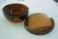 Vietnam Chinese Nesting Baskets Boxes Paper Mache Black Lacquer 5 Pc. Set