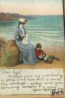 Postcard, 1906 dear Dad, British Beach Bamforth & Co. Vintage P49