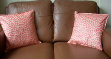 2 x Jane Churchill Designer Fabric Cushion Covers Pebble Design Peach Gift 16""