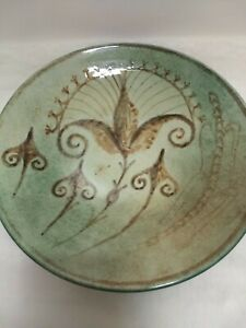 "Keramikos Ceramic Wall Plate 9.5"" Green Brown"