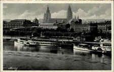 Rhein ~1930 Schiff Dampfer Hafen Anlegestelle MAINZ Verlag Hoursch & Bechstedt
