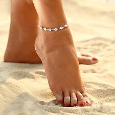 Gold Trendy Chic Rhinestone Ankle Bracelet Women Anklet Chain Foot Beach Jewelry