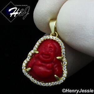 MEN WOMEN 925 STERLING SILVER ICY SMALL RED GEMSTONE GOLD BUDDHA PENDANT*GP283