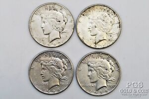 2-1927-S 1928-S 1934-D Peace Silver Dollars $1 Better Dates 4 Silver Coins 21954