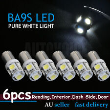 6pcs BA9S  T4W 5050 SMD 5LED Car Interior Dome Read Light Bulb Globes 12V WHITE