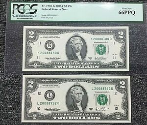 PAIR of $2 Fr1938-K & L 2003A FRN BEP 2008 DISTRICT BIRTH YEAR NOTES .99c START
