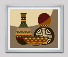 Art African Traditional Gourd Pattern Ethnic Tribal Home Poster Print Painting