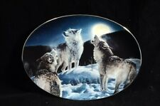 Bradford Exchange Wolf/ Wolves Collector's Plate Oval with Certificate &a