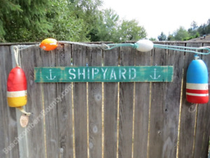 48 INCH WOOD HAND PAINTED SHIPYARD & ANCHOR SIGN NAUTICAL SEAFOOD (XWS823)