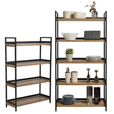 1 x 4 Tier & 1 x 5 Tier Contemporary Industrial Bookcases Shelving Oak Style