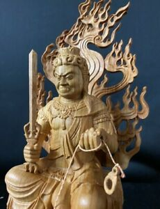 Fudo Myo throne Statue Ina Sculpture Buddhist Crafts Material JAPAN Brand