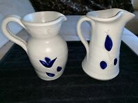 Williamsburgs Pottery Salt Glaze Stoneware 2 Pitcher Vase Blue ART Earthenware