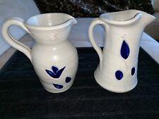 Williamsburg Pottery Salt Glaze Stoneware 2 Pitcher Vase Cobalt Blue ART DECOR
