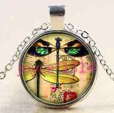 Glass Chain Pendant Necklace #2392 Vintage Dragonfly Cabochon Tibetan silver