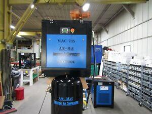 Air-Max 7.5 hp Rotary Screw Air Compressor 80 vertical 12 Year Warranty !!