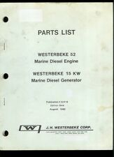 Factory Westerbeke 52/15 KW Marine Diesel Engine/Generator Parts List Manual