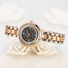 Fashion Women Mens Stainless Steel Leather Roman Quartz Analog Dress Wrist Watch