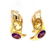 14K Yellow Gold, Citrine & Amethyst Omega Pierced Back Earrings! 44
