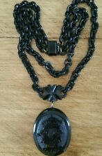Superb Antique Victorian Whitby Jet Mourning  Locket & Double Chain Collar