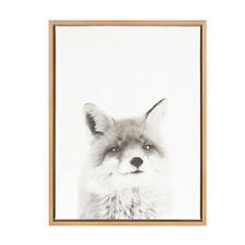 Fox Black and White Portrait Natural Framed Canvas Wall Art by Simon Te Tai
