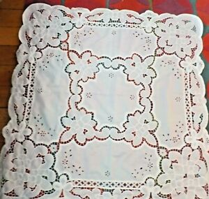 Vintage Broderie Anglaise Style White Table Cloth Modern Fabric  Never Used