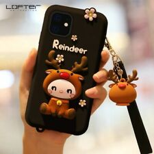 LOFTER Cute Deer Cartoon Silicon Full Coverage Case for iPhone 11 Pro Max, Black