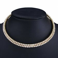 Choker Necklace Two Row Layer Gold Filled White Wedding Bridal Bib CZ Cryatal