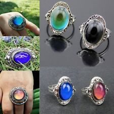 5Pcs Vintage Color Change Mood Ring Emotion Feeling Oval Stone Rings Send Random