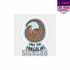 Save The Pangolins Curled Up Pangolin 4 pack 4x4 Inch Sticker Decal