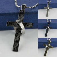 Moda uomo acciaio inox Punk Bibbia croce anello ciondolo collana gioielli Blu