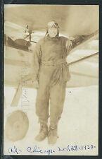 IL Chicago RPPC 1930 AVIATOR AL in LEATHER HELMET & GOGGLES POSES with PLANE