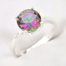 Gorgeous Rainbow Fire Mystic Topaz Crystal Silver Ring Size 8 9 7 Jewelry Gift