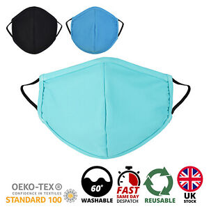 Face Mask Breathable Washable  Reusable Face Mouth Protection UK - 3 Colours
