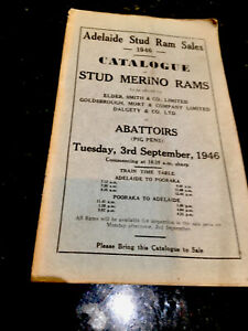 Adelaide Stud Ram Sales 1946 Catalogue-3rd Sept-Rare Find. Economy Press Orig.