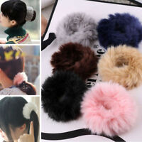 New Fashion Fluffy Faux Fur Furry Scrunchie Elastic Hair Ring Rope Band Tie Cute