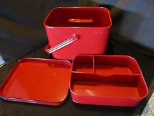 "Red Metal Box 2 pc Picnic Sewing Garden Organizer storage Handle lid & tray 10""W"