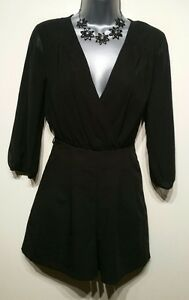 Size 8 Playsuit Black Fitted Tailored Partially Sheer Excellent Condition Ladies