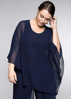 Floaty Double Layer Batwing Sleeve EveningParty Blouse with Jewel Detail Size 30