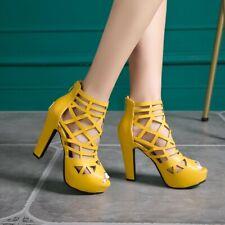Gladiator Women Open Toe Mesh Hollow Out Block High Heel Summer Party Sandals D