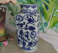 """Large 15"""" Tall Heavy Asian Chinoiserie Vintage Blue White Tall Vase"""