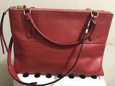Coach Handbag-The Borough Bag In Retro Glove Tan Leather GD/CLASSIC VERMILLION
