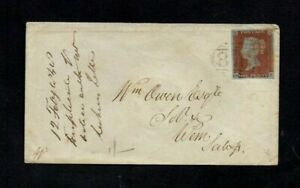 1848. COVER. QV 1d RED-BROWN IMPERF. WHITCHURCH TO WEM. '876' NUMERAL CANCEL.