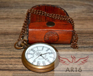 Antique Maritime Brass Victoria London Pocket Watch With Leather Case Art-1920