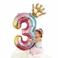 Number Foil Balloons 32 Inch Rainbow Air Balloon Birthday Party Decorations Kids