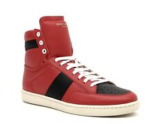 Saint Laurent YSL High Top Sneakers SL/10H Classic Red Leather Size 9 New