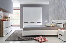 Bedroom furniture white high gloss wardrobe bedside chest bed frame azteca brw