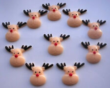 10 CHRISTMAS REINDEERS FLATBACK CABOCHONS SCRAPBOOK HAIRBOWS - FAST SHIPPING