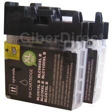2 compatible BROTHER LC-980 BK BLACK printer ink cartridges. VAT INVOICE.