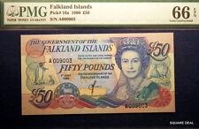 1990 PMG GEM UNC66 EPQ Vibrant Colors P-16a Falkland Islands Fifty Pounds Note!!